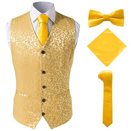 Gold Suit Halloween (4 Pieces Precious Jacquard Suit Gold Vest for)