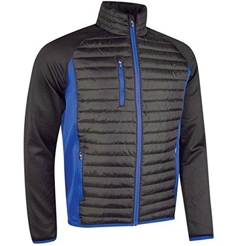 Sunderland Mens Zip Front Padded Golf Jacket Black/Electric Blue XXXL