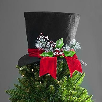 bf246826 Amazon.com: hm Unique Christmas Tree Topper Lighted Top Hat Rattan Deer  Head Red Top Hat Snowman Reindeer Elf Head Top Hat (Black Felt Top Hat):  Home & ...