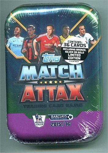 (2015 / 2016 Topps Match Attax English Premier League Soccer Card Collectors Tin With 36 Cards Including a Gold, Silver or Bronze Limited Edition Card. USA Seller.)