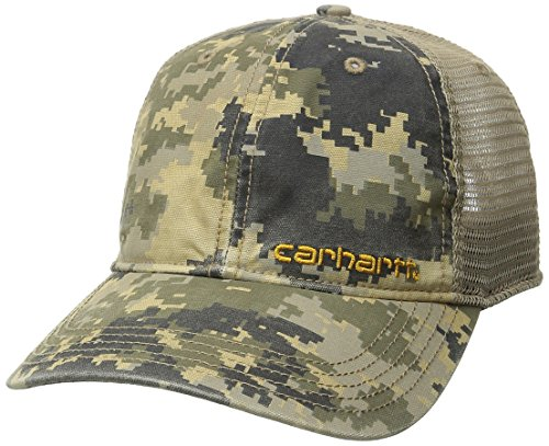 Embroidered Visor Carhartt - Carhartt Men's Brandt Camo Mesh Back Cap, Dark Khaki Digi, One Size
