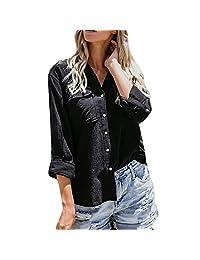 kingfansion - Womens Shirts Cotton Linen Loose Button Shirt Tops T-Shirt Blouse