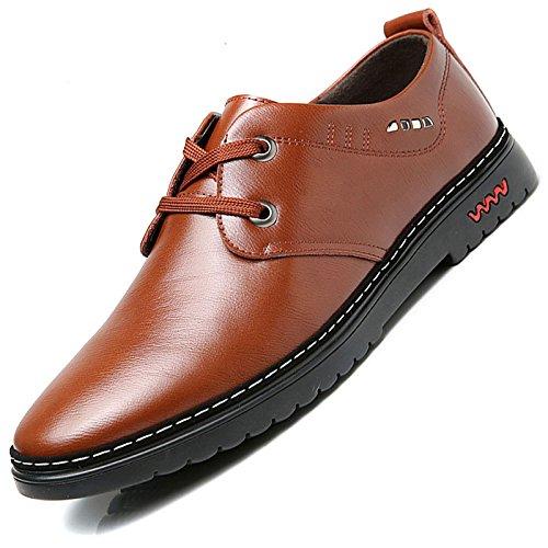 LEDLFIE Chaussures pour Hommes Men's Business Dress Chaussures en Cuir Décontracté brown