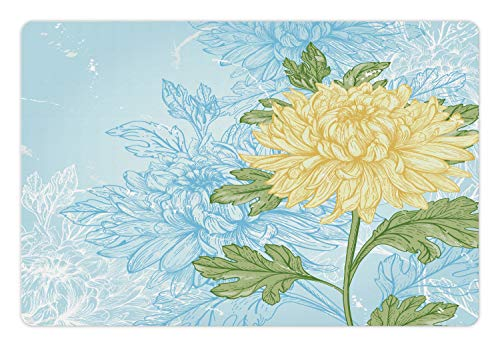Ambesonne Flower Pet Mat for Food and Water, Yellow Flower Chrysanthemum on a Blue Abstract and Romantic, Rectangle Non-Slip Rubber Mat for Dogs and Cats, Pale Blue Olive Green Pale Yellow