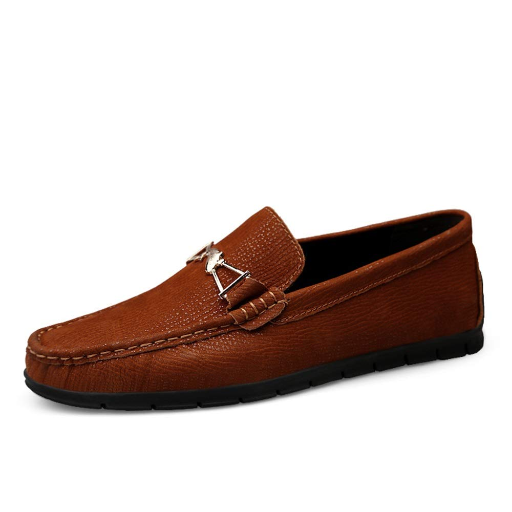rougedish marron 43 EU Chaussures en Cuir pour Hommes Chaussures de Conduite Lok Fu Décontracté Décoration en métal exquise Pratique Chaussures à Semelle Souple coulissante,Chaussures de Cricket