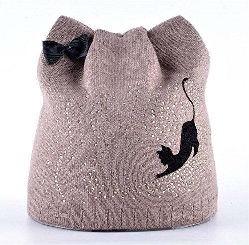 Miki Da Winter Beanie Hat With Ear Flaps For Women Black Cat Diamond Bow-knot Knitted Beanies Skullies Cap Ladies Touca Inverno Feminina Khaki Diamond Visor Beanie