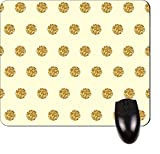 Gold Glitter PRINT Polka Dots- Square Mousepad- Great Review and Comparison