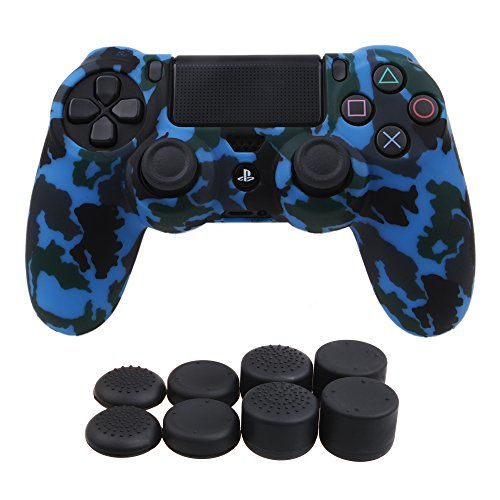 YoRHa Water Transfer Printing Camouflage Silicone Cover Skin Case for Sony PS4/slim/Pro controller x 1(blue) With Pro thumb grips x 8 For Sale