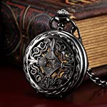 AMPM24 Steampunk Black Copper Case Skeleton Mechanical Pocket Watch Fob 7
