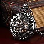 AMPM24 Steampunk Black Copper Case Skeleton Mechanical Pocket Watch Fob WPK167 7