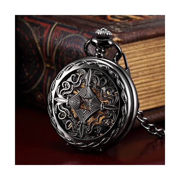 AMPM24 Steampunk Black Copper Case Skeleton Mechanical Pocket Watch Fob 4