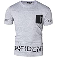 CT&HF Men's Round Collar Casual Summer T-Shirt