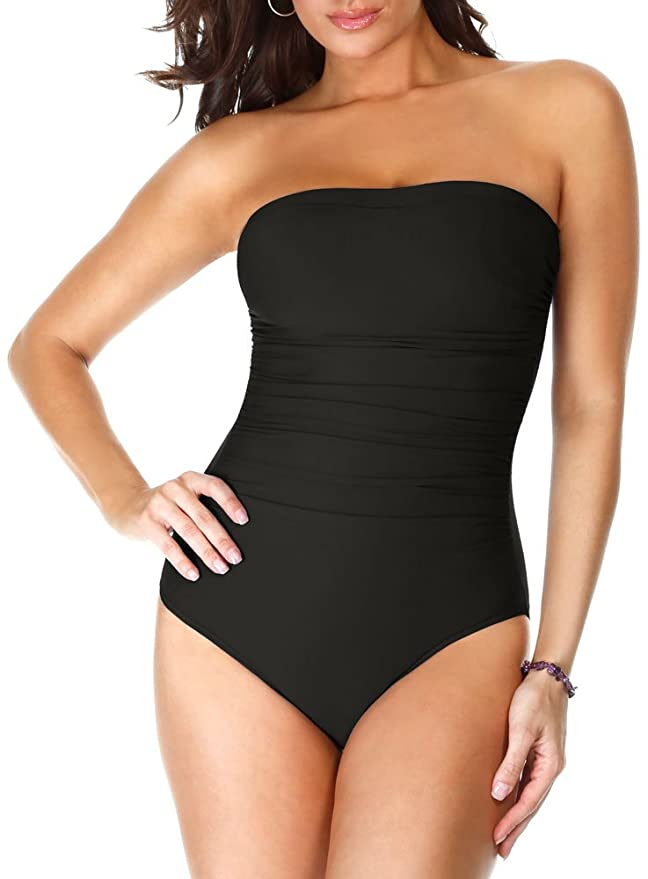 3187ac975a5fd Miraclesuit Women's Swimwear Long Torso Solid Avanti Bandeau Strapless One  Piece Swimsuit at Amazon Women's Clothing store:
