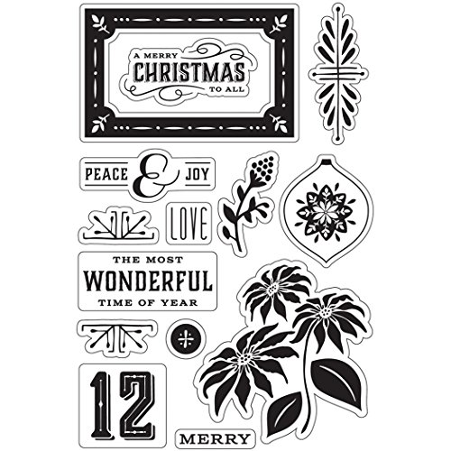 Hero Arts CL792 Basic Grey Evergreen Clear Stamps By Hero Arts-Peace & Joy Christmas