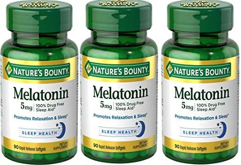 Nature's Bounty Melatonin Super Strength 5 mg, 270 Softgels (3 X 90 Count Bottles)