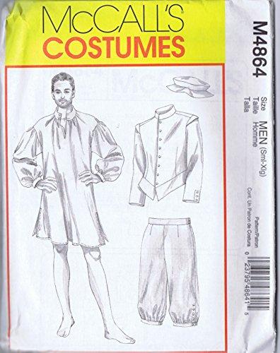 OOP McCalls Costume Pattern M864. Mens Szs S,M,L,Xl Colonial Costumes Including Jacket Shirt Pants & Cap