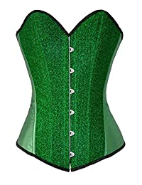Ivy Shi Women's Gold Boned Lace Up Back Corset Top (Large, Green)