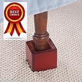 Sawan Shop Bed Risers Wood Bed Lifters, Set of 4 (Mahogany)