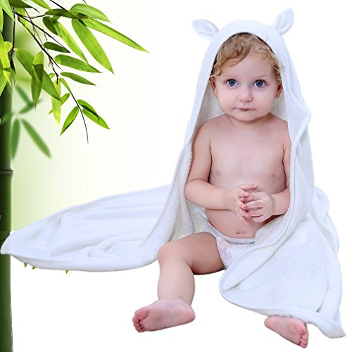 CROPAL Bamboo Baby Hooded Towel, Extra Soft Organic Baby Bath Towel for Infant, Toddler or Kids- 30x 30