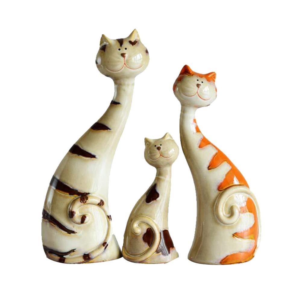 Vosarea Ceramics Figurines Sculptures Three Cats Porcelain Ornaments