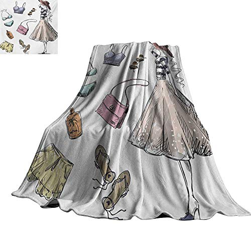 - Angoueleven Heels and Dresses,Soft Blankets Collection of Summer Fashion Clothing and Accessories with Young Woman Plush Microfiber Blanket 60