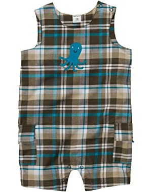 Carter's Infant Woven Sunsuit - Brown/Turquoise Plaid--NB