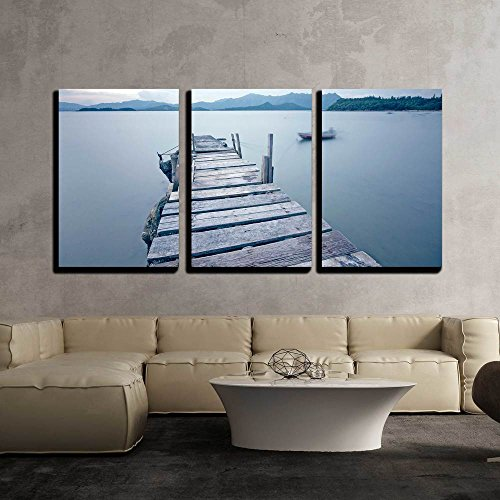 wall26 - 3 Piece Canvas Wall Art - Old Jetty Walkway Pier the The Lake - Modern Home Decor Stretched and Framed Ready to Hang - 16