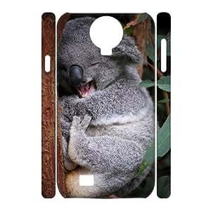 3D Zachcolo Happy Koala Samsung Galaxy S4 Cases, Cute Cheap Samsung Galaxy S4 Case for Men {White}