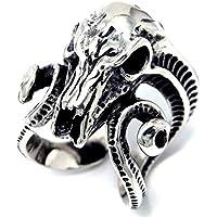 サタン(悪魔)モチーフ バッファロースカル(水牛の骸骨)デザイン ダブルビッグホーン(角)オープンアーム メンズ ステンレス リング