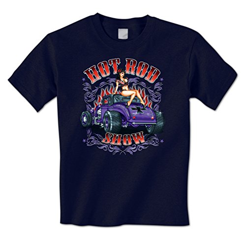 Hot Road Show - Sexy Model Girl Rat Rod Chopper Cross Pinstripe Mens T-Shirt XXL Navy (Navy Sexy Pin)