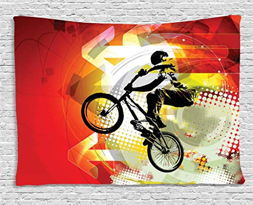 Bmx Bike Riders (Lunarable Dirt Bike Tapestry, BMX Rider Silhouette on Colorful Background with Halftone Effect Extreme Sports, Wall Hanging for Bedroom Living Room Dorm, 80 W X 60 L Inches, Multicolor)