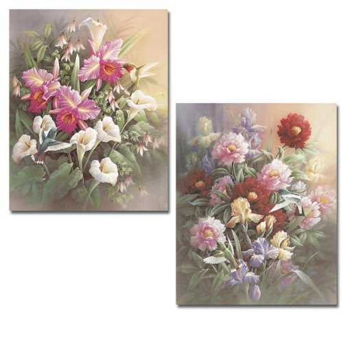2 New Hummingbird Art Prints Floral Posters Wall Decor