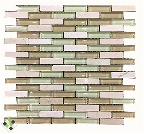 Home Building Glass Tile Kitchen Backsplash Idea Bath Shower Wall Decor Beige Marble stone Pattern Art Mosaic wall tiles,LSSTG08 (11PCS 11sq.ft/pack)