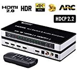 HDMI 2.0 Switch 4x1 - Tendak 4 in 1 Out HDMI Switcher with Audio Extractor + Optical Toslink & L/R Audio Out and IR Remote Support ARC 3D EDID 4K@60HZ HDCP 2.2 for HDTV PS4 Pro Roku 4 Projector