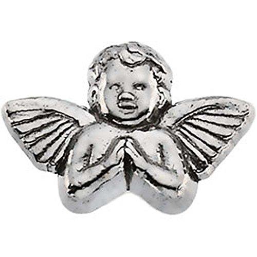 08.00×12.00 mm Praying Angel Lapel Pin in 14K White Gold