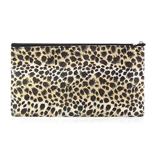 Zodaca Small Travel Cosmetic Bag, Brown Leopard