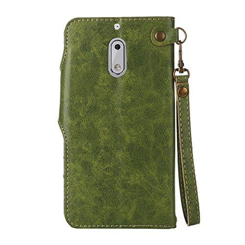 MEIRISHUN Leather Wallet Case Cover Carcasa Funda con Ranura de Tarjeta Cierre Magnético y función de soporte para Nokia N6 - Rosado Verde