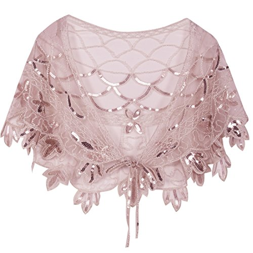 PrettyGuide Women's 1920s Shawl Beaded Vintage Bolero Flapper Evening Wraps Pink Beaded Metallic Evening Bag