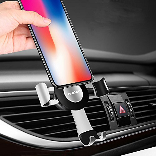 Gravity Car Phone Mount, iVoler Hands Free Auto Lock One Handed Air Vent Cradle Auto Release Cell Phone Holder One-Handed Design Compatible iPhone Xs MAX X 8 7 6 Plus Samsung S9 S8 S7 Note Silver