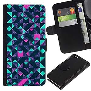 All Phone Most Case / Oferta Especial Cáscara Funda de cuero Monedero Cubierta de proteccion Caso / Wallet Case for Apple Iphone 6 // polígono azul púrpura del modelo de color rosa
