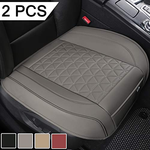 Black Panther 2 PCS Luxury PU Leather Car Seat Covers Protectors for Front Seat Bottoms,Compatible with 90% Vehicles (Sedan SUV Truck Van MPV) - Gray (21.26×20.86 Inches)