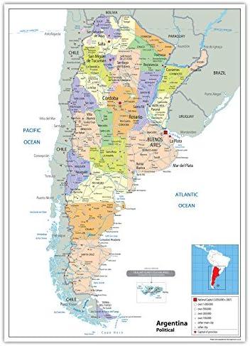 Argentina mapa político – Papel laminado [ga] A1 Size 59.4 x 84.1 cm: Amazon.es: Oficina y papelería