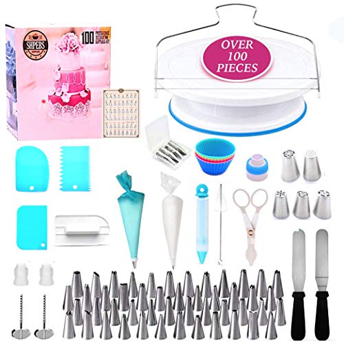 Shpebs UPDATED Ultimate Cake Decorating Supplies Kit-100 Pcs Baking Supply Set | Rotating Turntable Stand | Icing Piping Tips & Bags | Smoother & Spatulas, Frosting & Pastry Tools, Icing -