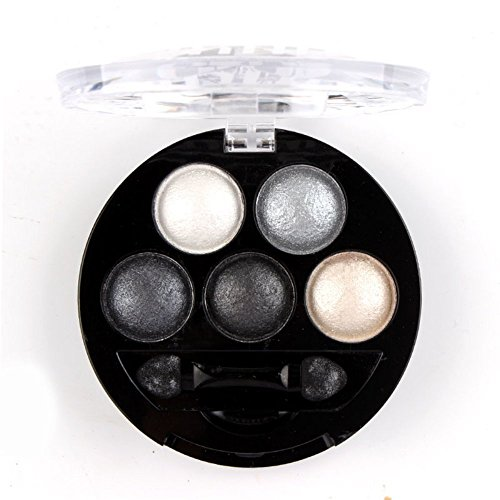 Mallofusa 5 Colors Eye Shadow Powder Metallic Shimmer Eyeshadow Palette (Galaxy Silver) 4.7oz