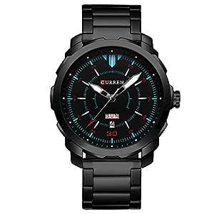 CURREN Men's Watch Stainless Steel Watchband Wristwatches Waterproof Quartz Watches with Calendar for Men 8266 (Black)