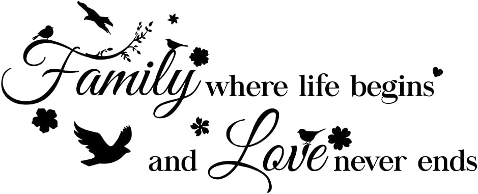 Inspirational Quotes Family Where Life Begins and Love Never Ends Wall Decal Vinyl Sticker for Living Room Bedroom Family Decor (41.7''×17.3'')