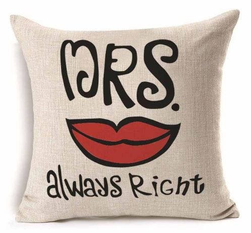 Dozili Motivational Mrs. Always Right Wooven Cushion/Pillow Cover