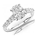 0.95 Carat t.w. Oval Cut 14K White Gold Classic Prong Set Side Stone Diamond Engagement Ring (I-J Color VVS1-VVS2 Clarity)