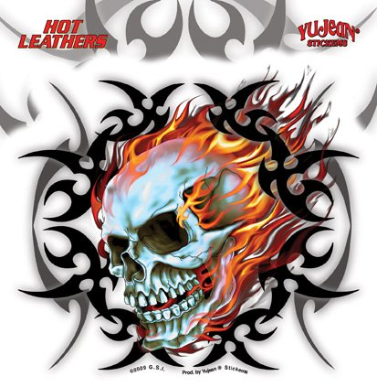 Hot Leathers - Tribal Flame Skull - Sticker / Decal