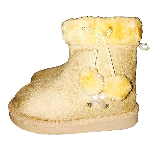 Cross Lace Fur Trim Fashion Print Footwear Toddler Girls Pom